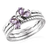 Set of 3 Rose De France Amethyst Stainless Steel Butterfly Stackable Rings (Size 5.0) TGW 0.68 cts.
