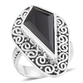 Bali Legacy Collection Thai Black Spinel Sterling Silver Ring (Size 7.0) TGW 5.75 cts.