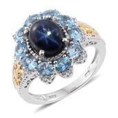 Thai Blue Star Sapphire, Electric Blue Topaz, Cambodian Zircon 14K YG and Platinum Over Sterling Silver Ring (Size 9.0) TGW 6.55 cts.