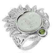 Bali Goddess Collection Carved Bone, Hebei Peridot Sterling Silver Nature's Queen Ring (Size 6.0) TGW 0.36 cts.