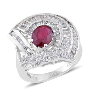 Niassa Ruby, White Topaz Platinum Over Sterling Silver Ring (Size 8.0) TGW 8.56 cts.