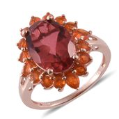 Salmon Quartz, Jalisco Cherry Fire Opal 14K RG Over Sterling Silver Ring (Size 9.0) TGW 7.13 cts.