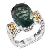 Belgian Teal Fluorite 14K YG and Platinum Over Sterling Silver Ring (Size 10.0) TGW 15.65 cts.