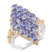 Tanzanite, Cambodian Zircon 14K YG and Platinum Over Sterling Silver Elongated Ring (Size 7.0) TGW 4.18 cts.