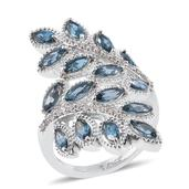 Dan's Collector Deals London Blue Topaz, Cambodian Zircon Platinum Over Sterling Silver Ring (Size 9.0) TGW 5.28 cts.