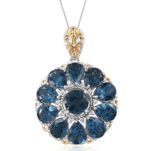 London Blue Topaz, Cambodian Zircon 14K YG and Platinum Over Sterling Silver Pendant With Chain (20 in) TGW 15.11 cts.
