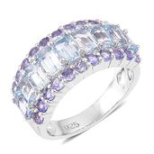 Espirito Santo Aquamarine, Tanzanite Sterling Silver Ring (Size 7.0) TGW 3.21 cts.