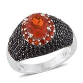 Crimson Fire Opal, Thai Black Spinel Black Rhodium & Platinum Over Sterling Silver Ring (Size 9.0) TGW 3.74 cts.