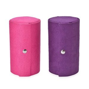 Pink and Purple Velvet Cylinder Shape Jewelry Case with Snap Button (5.25x3x3 in)