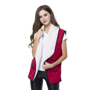 Doorbuster Red 50% Polyester and 50% Faux Suede Fold Over Collar Vest with Pockets (One Size)