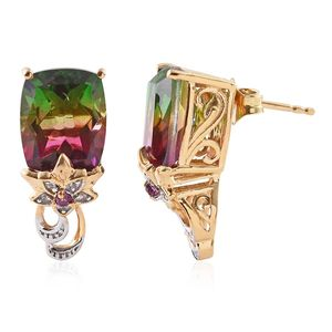 GP Watermelon Quartz, Multi Gemstone 14K YG Over Sterling Silver Earrings TGW 11.84 cts.
