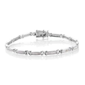 Diamond Platinum Over Sterling Silver Bracelet (7.50 In) TDiaWt 1.50 cts, TGW 1.50 cts.