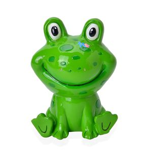 Green Ceramic Frog Coin Bank