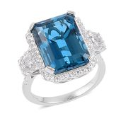 London Blue Topaz, White Topaz Sterling Silver Ring (Size 9.0) TGW 16.00 cts.