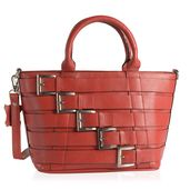 Red Genuine Leather RFID Tote Buckle Bag with Removable Strap and Standing Studs (14x5x8.75 in)