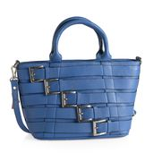 Lapis Blue Genuine Leather RFID Tote Buckle Bag with Removable Strap and Standing Studs (14x5x8.75 in)