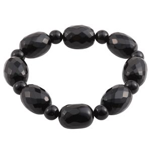 Black Agate Faceted Beads Bracelet (Stretchable) TGW 232.00 cts.
