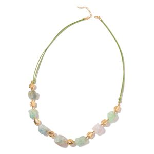 African Fluorite, Chroma Goldtone Necklace on Green Cord (34 in) TGW 615.00 cts.