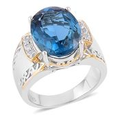 London Blue Topaz, White Zircon 14K YG Over and Sterling Silver Ring (Size 8.0) TGW 17.00 cts.