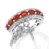 Crimson Fire Opal, Cambodian Zircon Platinum Over Sterling Silver Ring with Wing and Cross Charms (Size 7.0) TGW 1.52 cts.