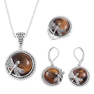 South African Tigers Eye Black Oxidized Stainless Steel Lever Back Earrings, Ring (Size 8) and Pendant With Chain (20 in) TGW 90.00 cts.