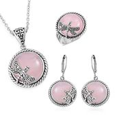 Galilea Rose Quartz Black Oxidized Stainless Steel Lever Back Earrings, Ring (Size 8) and Pendant With Chain (20 in) TGW 85.00 cts.