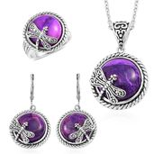 Purple Imperial Jasper Black Oxidized Stainless Steel Lever Back Earrings, Ring (Size 7) and Pendant With Chain (20 in) TGW 75.00 cts.
