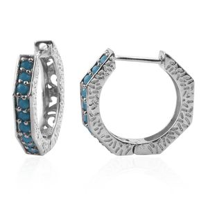 KARIS Collection - Platinum Bond Brass Hoop Earrings Made with SWAROVSKI Light Turquoise Crystal TGW 0.40 cts.