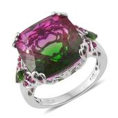 Watermelon Quartz, Russian Diopside, Ruby Platinum Over Sterling Silver Ring (Size 7.0) TGW 18.70 cts.
