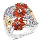 Crimson Fire Opal, Multi Gemstone 14K YG and Platinum Over Sterling Silver Ring (Size 8.0) TGW 2.98 cts.