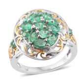 Boyaca Colombian Emerald 14K YG and Platinum Over Sterling Silver Ring (Size 9.0) TGW 2.00 cts.