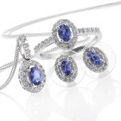 Premium AAA Tanzanite, Cambodian Zircon Platinum Over Sterling Silver Earrings, Ring (Size 8) and Pendant With Chain (20 in) TGW 2.69 cts.
