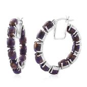 MEGA CLEARANCE Mojave Purple Turquoise Platinum Over Sterling Silver Inside Out Hoop Earrings TGW 17.00 cts.