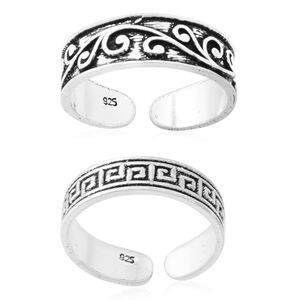 Set of 2 Sterling Silver Engraved Toe Rings (3.2 g)