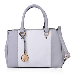 Gray and White Faux Leather Satchel Bag (12.5x4x9.1 in)