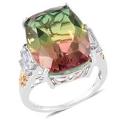 Rainbow Genesis Quartz, White Topaz 14K YG and Platinum Over Sterling Silver Ring (Size 6.0) TGW 21.40 cts.