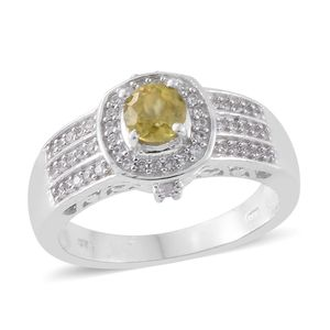 Madagascar Sphene, Cambodian Zircon Platinum Over Sterling Silver Ring (Size 6.0) TGW 1.15 cts.