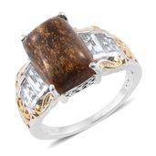 Australian Goldflake Feldspar, White Topaz 14K YG and Platinum Over Sterling Silver Ring (Size 8.0) TGW 9.90 cts.
