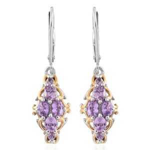 Mauve Sapphire 14K YG and Platinum Over Sterling Silver Lever Back Earrings TGW 1.96 cts.