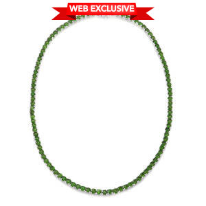 Russian Diopside Sterling Silver Necklace (18 in) TGW 28.35 cts.