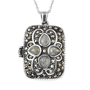 Malagasy Labradorite, Swiss Marcasite Black Oxidized Stainless Steel Locket Pendant With Chain (20 in) TGW 45.00 cts.