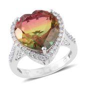 Rainbow Genesis Quartz, Cambodian Zircon Platinum Over Sterling Silver Ring (Size 6.0) TGW 12.85 cts.