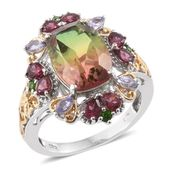 Rainbow Genesis Quartz, Multi Gemstone 14K YG and Platinum Over Sterling Silver Ring (Size 7.0) TGW 9.81 cts.