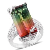 Rainbow Genesis Quartz Platinum Over Sterling Silver Elongated Ring (Size 8.0) TGW 22.00 cts.