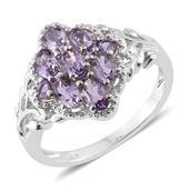 KARIS Collection - Rose De France Amethyst Platinum Bond Brass Ring (Size 9.0) TGW 1.42 cts.