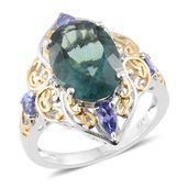 Belgian Teal Fluorite, Tanzanite, Cambodian Zircon 14K YG and Platinum Over Sterling Silver Ring (Size 7.0) TGW 7.90 cts.