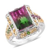 Watermelon Quartz, Multi Gemstone 14K YG and Platinum Over Sterling Silver Ring (Size 10.0) TGW 9.76 cts.