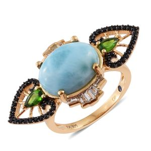 GP Larimar, Multi Gemstone 14K YG Over Sterling Silver Ring (Size 6.0) TGW 9.05 cts.