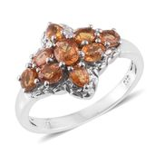 Orange Sapphire Platinum Over Sterling Silver Ring (Size 7.0) TGW 2.30 cts.