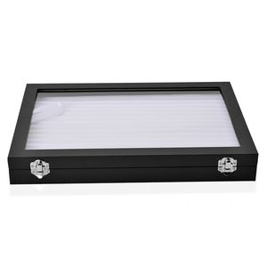 Black Faux Leather Jewelry Box with Anti Tarnish and  Scratch Protection Interior (Holds up to 150 Rings) (14x1.5x9.5 in)